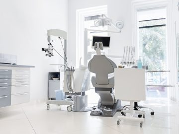 Interior of new white modern dental clinic office